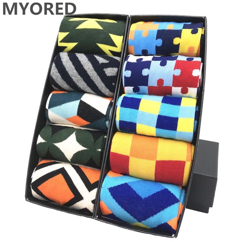 MYORED-Calcetines coloridos de algodón peinado para hombre, medias divertidas de moda, envío...