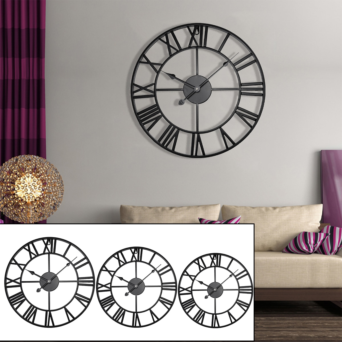 40/47/60/80cm Modern 3D Large Retro Black Iron Round Art Hollow Metal Wall Clock Nordic Roman Numerals Clock Home Decoration