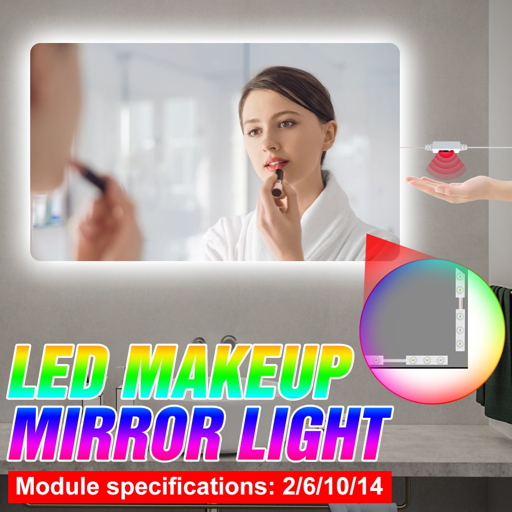 Hand Sweep Sensor 5V Wall Lamp USB Hollywood Vanity Mirror Light LED Cosmetic Lamp Dressing Table 2 6 10 14 Modules Makeup Lamp