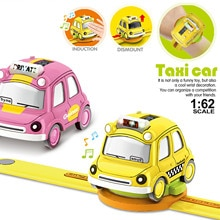 Mini Alloy Bus Taxi Style 1:62 Alloy Car Digital Display Watch Cute Kids Children Watch Toy  Pull Ba