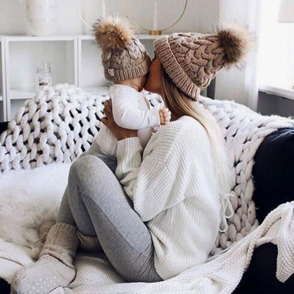 2 Pcs Women Kids Knitting Hat Cap Crochet Warm Breathable for Winter Outdoor B2Cshop