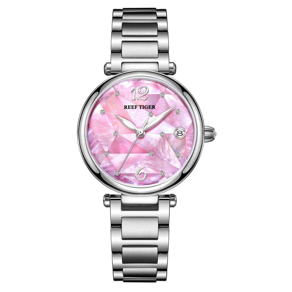 Reef Tiger/RT nuevo diseño de lujo de acero inoxidable de Dial Rosa relojes automáticos mujeres Rosa plata acero reloj de cinta RGA1584