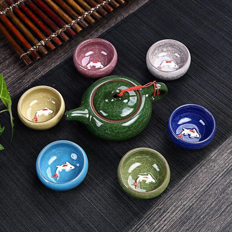 Celadon Fish Tea Set Ceramic Kettle Ceramic Tea Cup Fish Chinese Kung Fu Tea Chinese People Ceramic Kung Fu Tea Set VJ-D