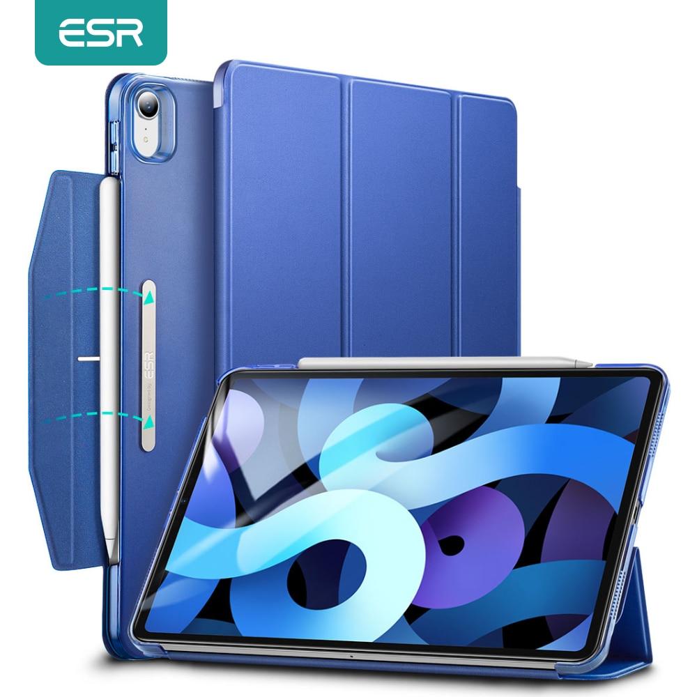 ESR-جراب ذكي لجهاز iPad Air 4 ، حافظة ثلاثية الطيات مع حامل قلم ، لجهاز iPad 8th 2020/iPad 7th 2019/iPad Pro 11 12.9 2020
