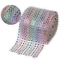 1yard x12cm wide colorful crystal diamond mesh rhinestone plum ribbon roll for gift wrap diy sewing trim wedding party diy decor