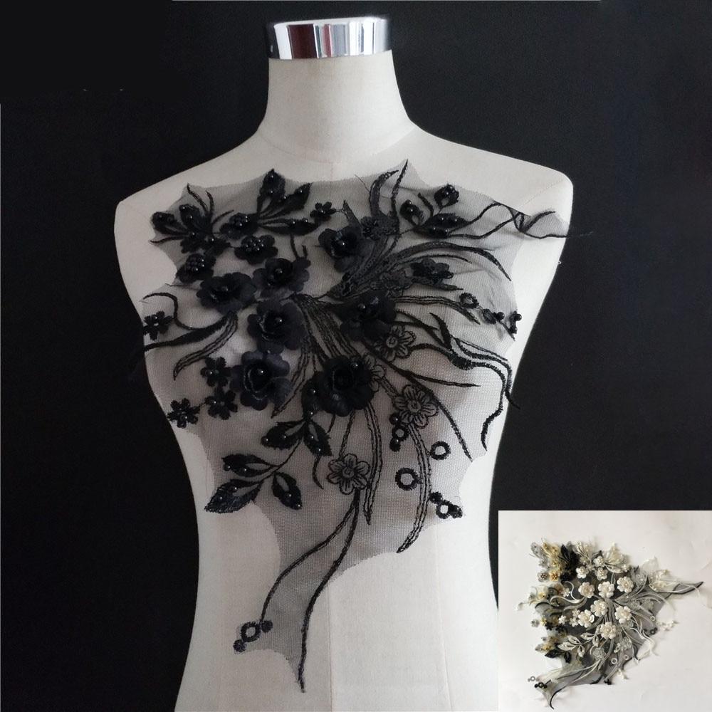 Несколько цветов 3D цветок применение кружева воротник DIY ABS жемчужная кружевная ткань вышивка ремесло поставки одежды Швейные аксессуары