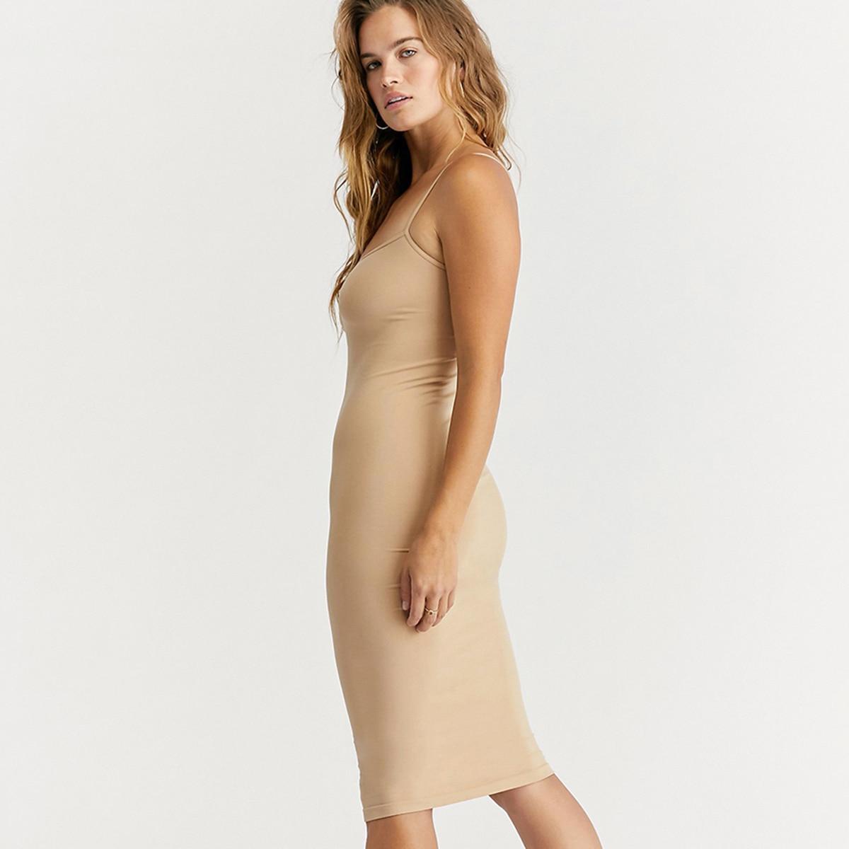 aliexpress.com - Seamless Nude Slip Dress 2021 Summer Autumn Women Adjustable Strap Sexy Vestidos Stretchy Bodycon Slim Midi Dress Underdress