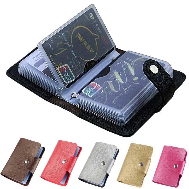 24 ranuras para tarjetas tarjetero de cuero PU con Tarjetero con Cierre magnético para tarjetas de crédito pasaporte, caso de la tarjeta