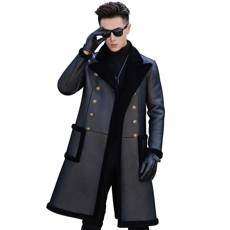 معطف شتوي للرجال 100% من صوف الخروف ، معطف طويل مناسب للعمل ، معطف مكتب مزدوج الصدر دافئ