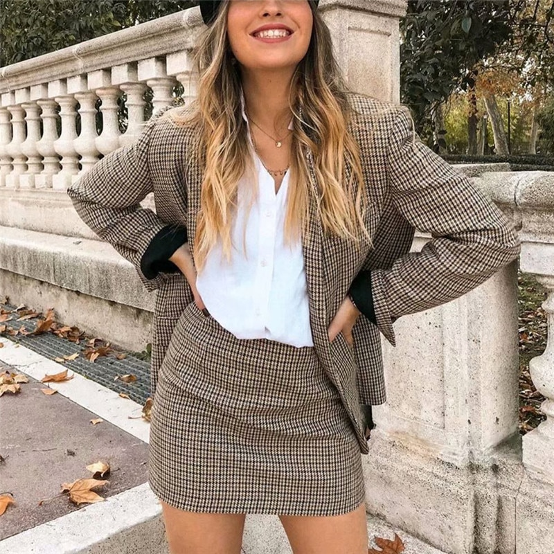 Women Plaid Autumn 2 Piece Set Blazer,High Waist Skirt Office Lady Jacket Skirt Suits Sold Separatel