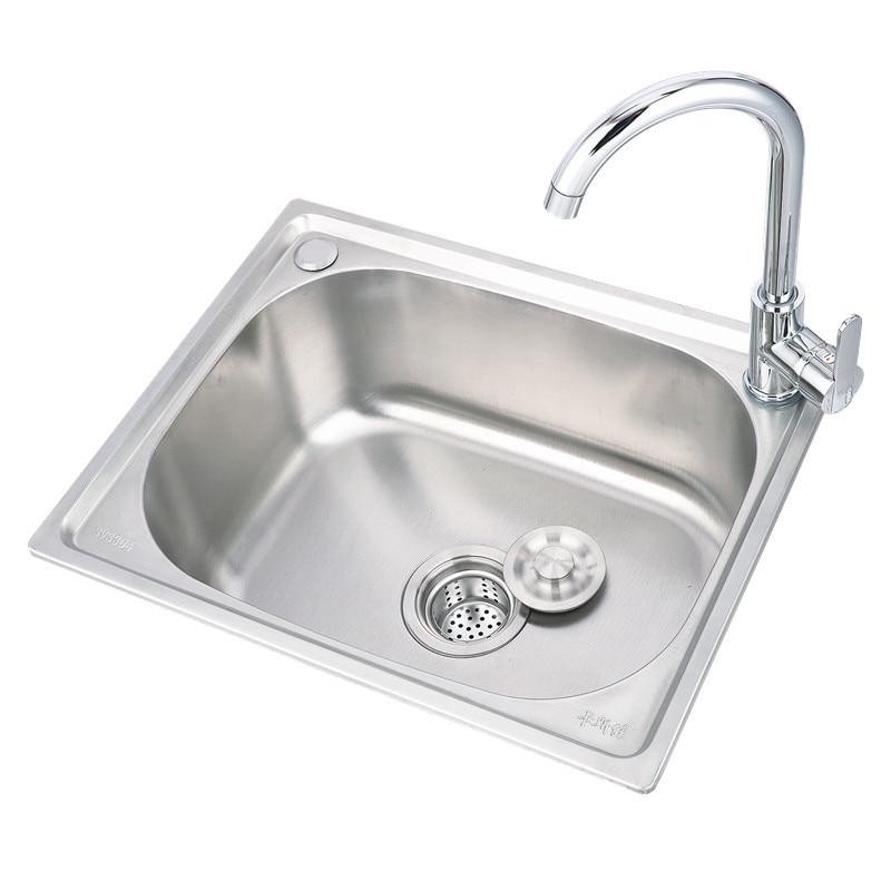 حوض مطبخ سميك من الفولاذ المقاوم للصدأ 304 ، مجموعة WY5 ، فتحة واحدة كبيرة