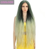 ombre green kinky curly lace wig 38 inch long blonde afro kinky curly lace front wig natural synthetic lace wigs for black women