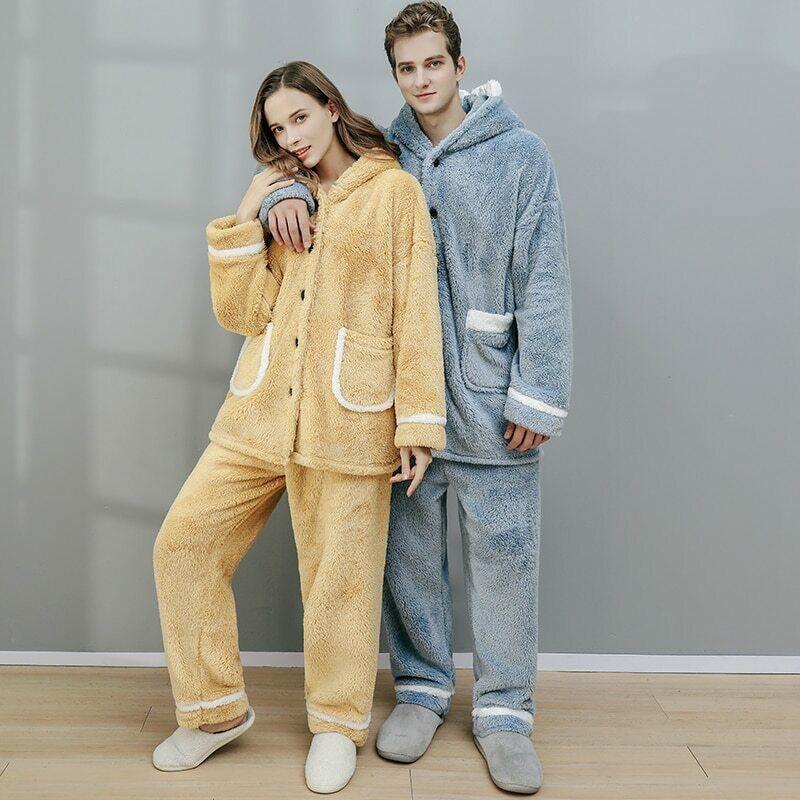 Winter Thick Warm Pajamas Women's Flannel Suit Men's Large Size Coral Fleece Couple Hooded