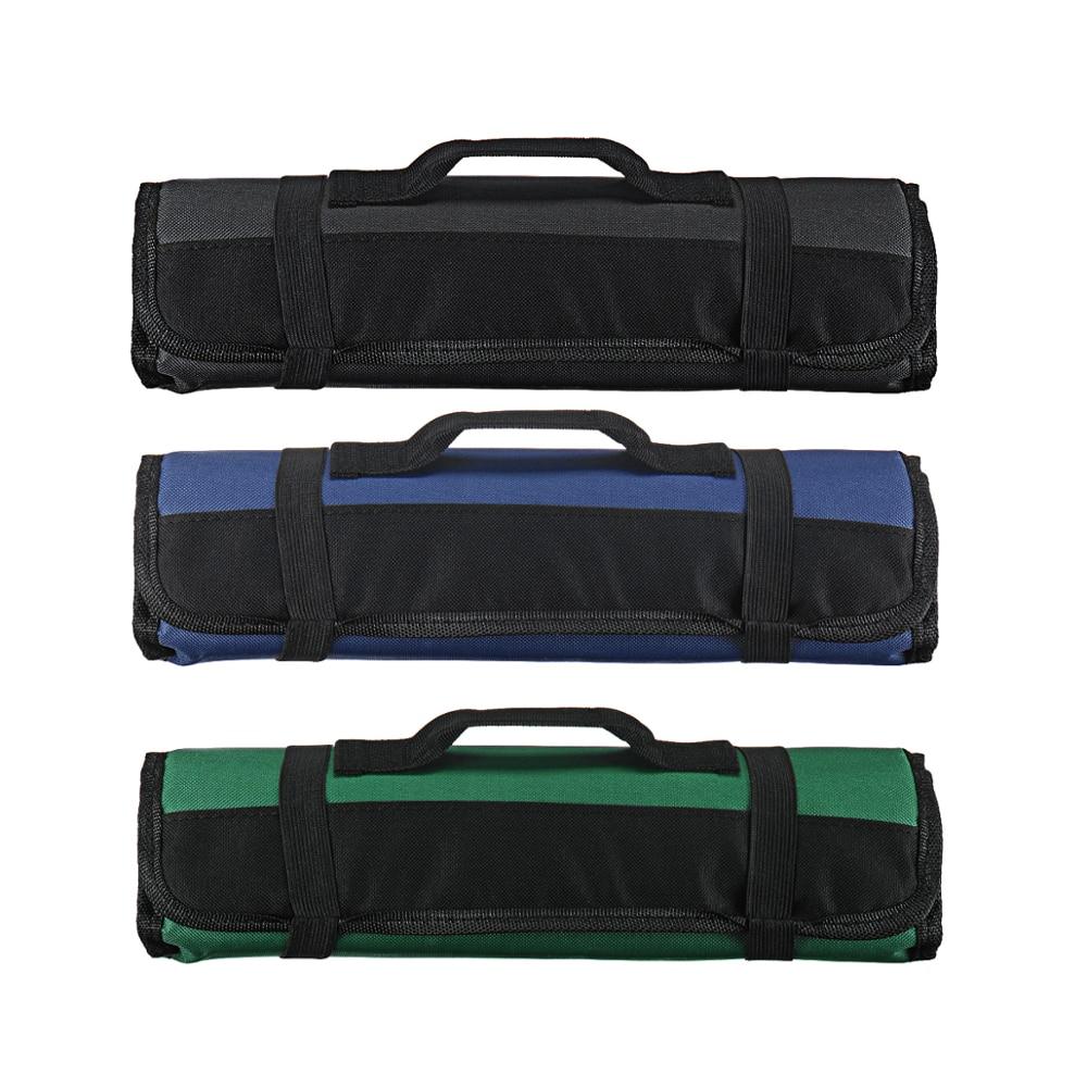 Bolsa de cuchillo de cocinero de 3 colores, bolsa de rollo, funda de transporte, bolsa de cocina, almacenamiento portátil duradero, 22 bolsillos, negro, azul, verde
