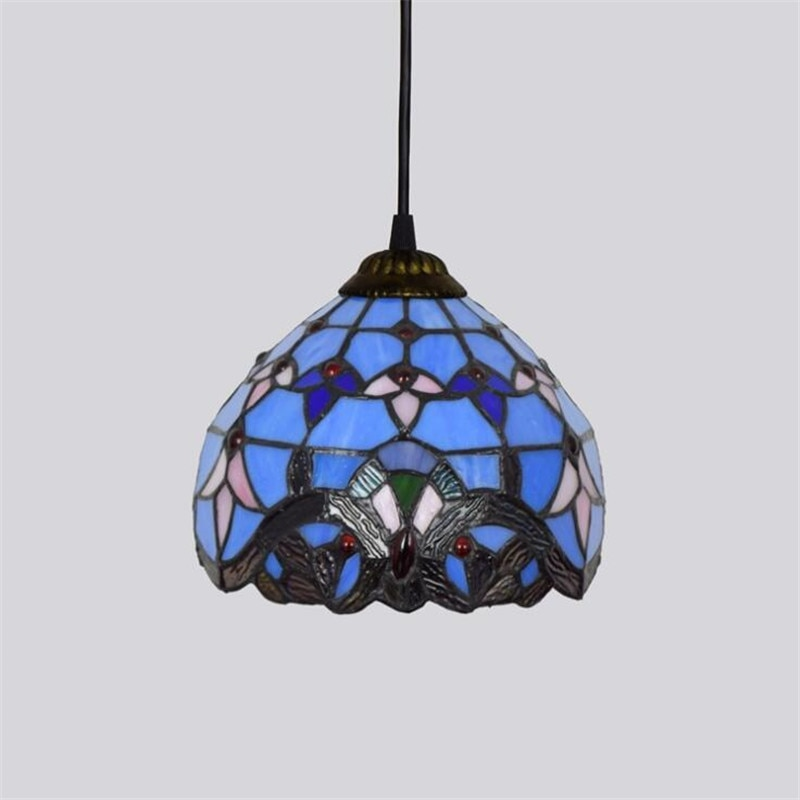 Tiffany Baroque Blue Small Pendant Light for Bar Dining Room Restaurant Vintage Glass Suspension Drop Lamp 20cm 1193  - buy with discount