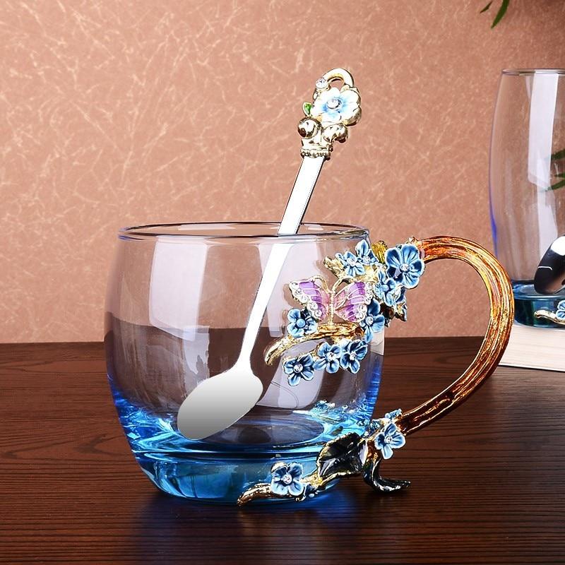 Emaille Kaffee Tasse Becher Blume Tee Trinken Glas Tassen Mit Griff Für Heiße Und Kalte Getränke Mit Kappe Pad Und wischen Tuch Für Geschenke