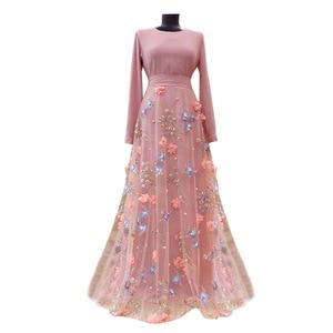 Woman Dress Fashion Elegant 3D Floral Floor-Length A-Line O-Neck Empire Muslim Fashion Abaya Dubai Abaya Turkey Saudi Arabia