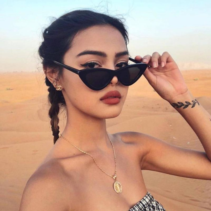 Retro Fashion Eye Sunglasses Vintage Cat Sunglasses Women Triangular Sun Glasses Eyewear Oculos De S