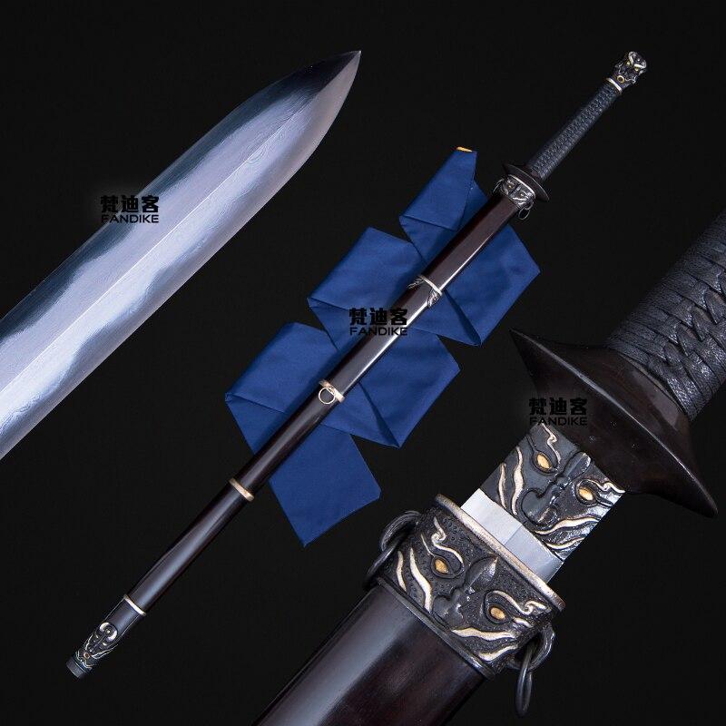 Espada de alta calidad totalmente hecha a mano de acero plegado espada China larga alrededor de la espada afilada cuchillo de dinastía Qing Jian