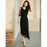 dress women elegant asymmetry style 57 acetate blended shell o neck sleeveless belt 2 colors long dresses ladies new fashion