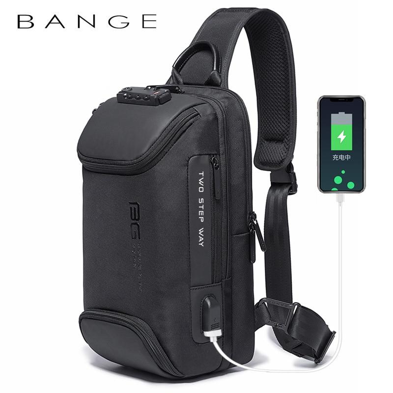 Bange متعددة الوظائف الرجال أكسفورد حقيبة كروسبودي مكافحة سرقة حقائب كتف رحلة قصيرة رسول USB شحن حقيبة صدر للرجال حزمة