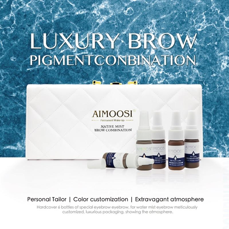 6 uds Aimoosi pigmento para cejas nativo niebla kit para cejas Semi maquillaje permanente tatuaje de tinta para cejas marrón chocolate color café