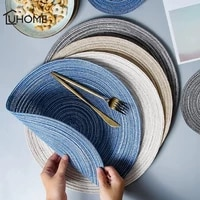 6pcsset round ramie insulation pad solid placemats linen non slip table mats kitchen accessories decoration home pad coaster