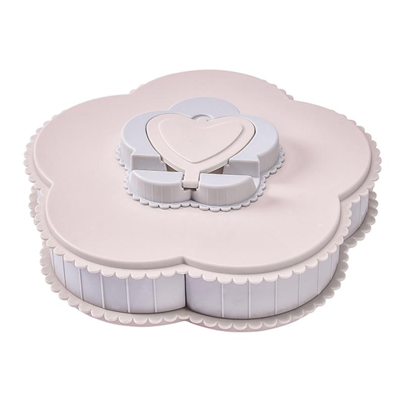 Pétalo forma giratoria Caja de almacenaje para dulces de flores con forma de pétalo de frutas secas de nueces aperitivo plato de postre contenedor titular del teléfono rosa