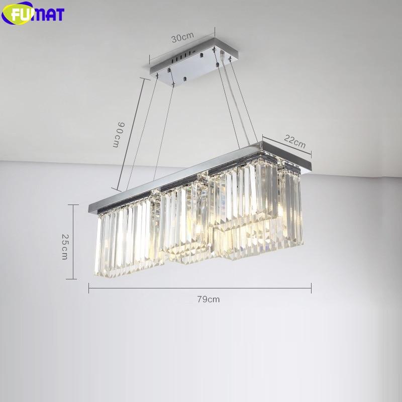 Lámpara colgante de cristal FUMAT K9 para comedor, restaurante, lámpara colgante rectangular, lámpara colgante de lujo, estilo moderno, decoración para el hogar