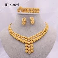 dubai 24k gold color jewelry sets of women indian ethiopia bridal african wedding gift necklace earrings ring bracelet party set