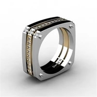personality fashion men rings gold silver color square wedding engagement bands charms simple jewelry for men party gift