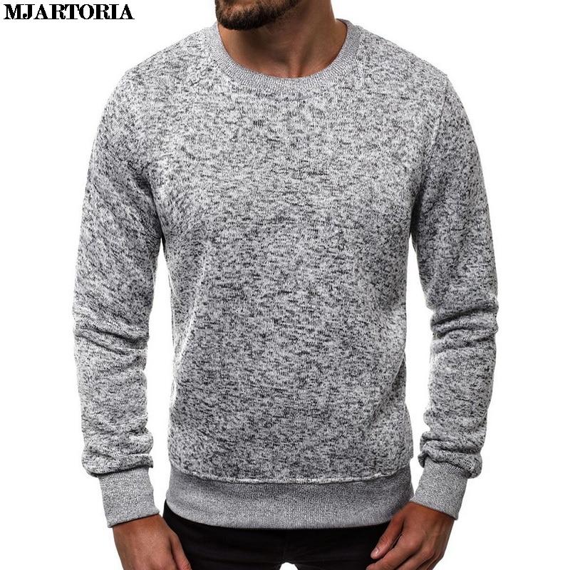MJARTORIA Soild suéter de cuello redondo para hombre Casual de invierno de manga larga jersey de moda sudadera Simple salvaje para hombre