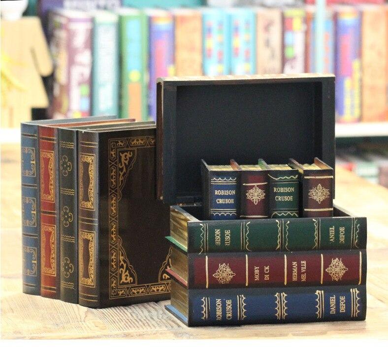الأوروبي ريترو كتاب صندوق تخزين صندوق مجوهرات خشبي كتاب وهمية سر صندوق تخزين المنتج
