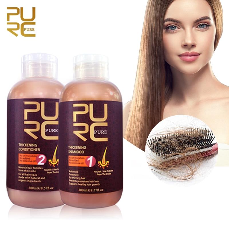 PURC شامبو وبلسم الشعر لنمو الشعر وتساقط الشعر يمنع علاجات فروة الرأس ترقق الشعر للرجال والنساء 600 مللي