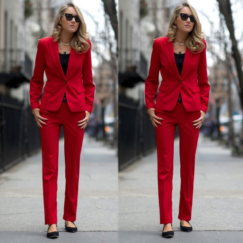 Moda Madre de la novia roja trajes Slim Fit un botón mujeres damas de talla grande Oficina esmoquin Formal trabajo fiesta