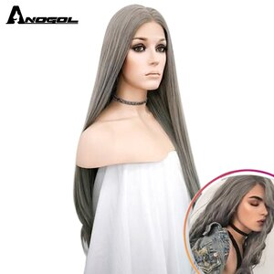Anogol Silver Grey Synthetic Lace Front Wig Long Natural Wave Wigs  For Women High Temperature Fiber