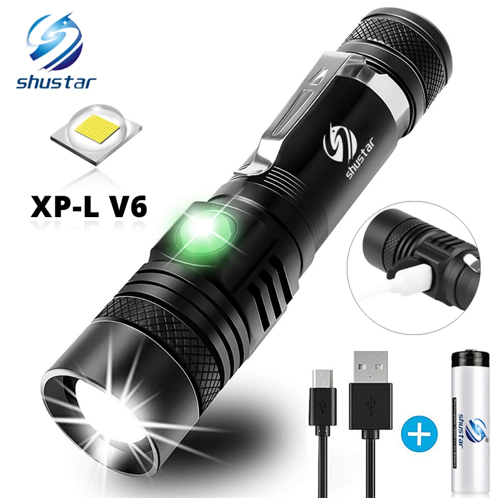 Ultra Bright LED Flashlight With XP-L V6 LED lamp beads Waterproof Torch Zoomable 4 lighting modes M
