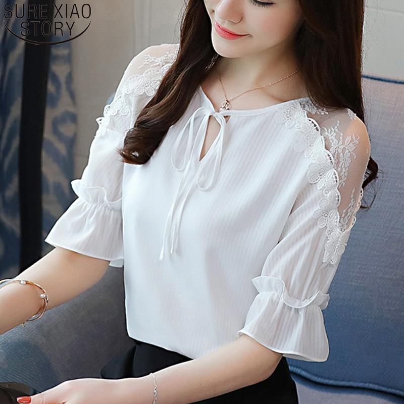 2020 Summer Women Blouses Short Sleeve White Chiffon Short Flare Sleeve Lace Spliced Shirts Tops Female Bow Ladies Shirt 9209