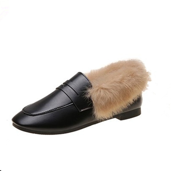 Mocasines de felpa para mujer 2019 otoño e invierno cálido más terciopelo plano estilo coreano versátil zapatos de peluche Side Scoop Bootie