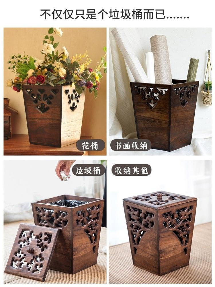 Vintage Square Trash Can Creative Recycle Wood Selective Trash Can Deodorant Compost Cubo De Basura Kitchen Accessories EI50LJ enlarge
