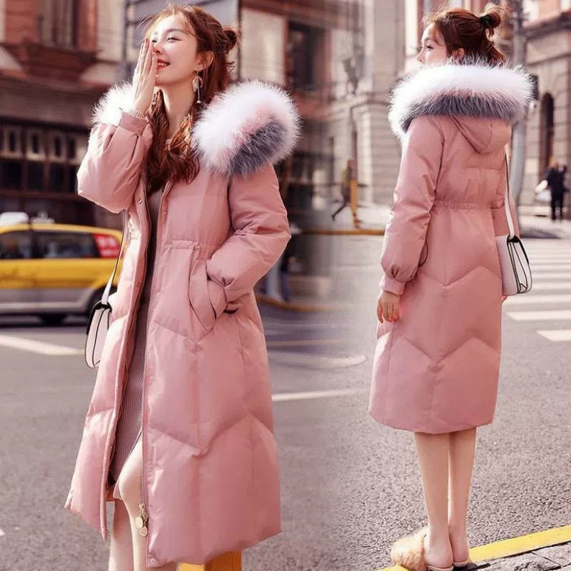 Chaqueta de plumón largo con capucha para Mujer, Parkas de talla grande...