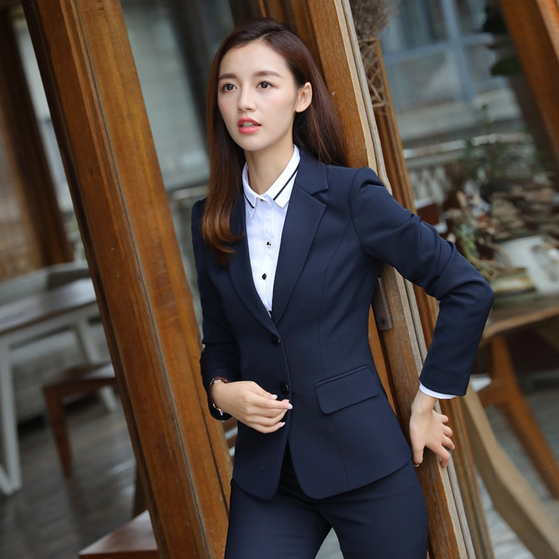 2019 New women office lady pant suits of high quality OL blazer suit jackets trouser two pieces set large size S-5XL
