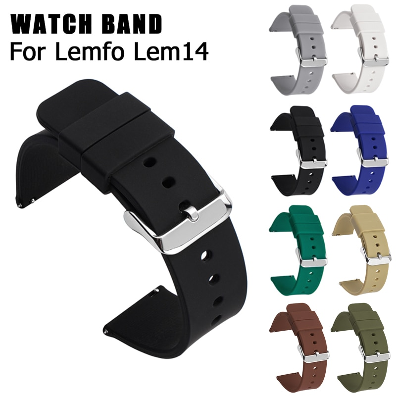 Silicone Band For Lemfo Lem14 Smart Watch Strap For Lemfor Lem 14 Men Sport Replacement Bracelet Durable Loop Watch Accessories