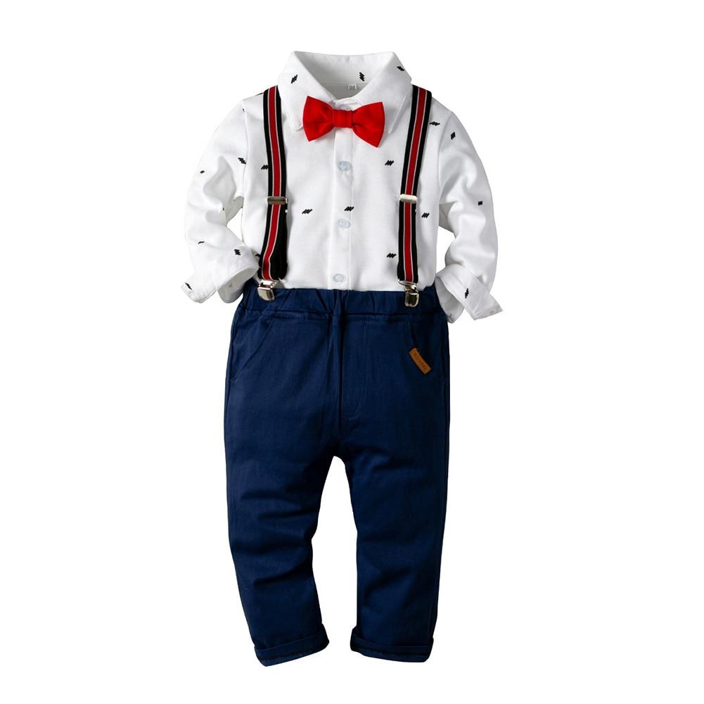 Conjunto de ropa para niños bebé niño blanco de manga larga camisa de lazo rojo pantalones babero traje de caballero traje Formal traje de Weadding