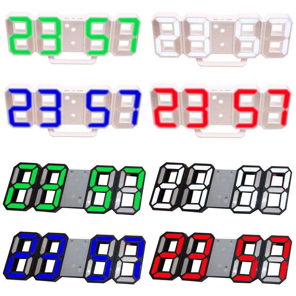 8 colores 3D Digital Reloj de mesa Reloj de pared LED luz nocturna fecha hora Celsius pantalla alarma USB Snooze hogar Decoración sala de estar