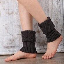 Autumn Winter Women Knit Leg Warmer Short Boot Cuffs Crochet Boot Socks Knitted Gaiters Leg Warmers Knitted Leg Warmers