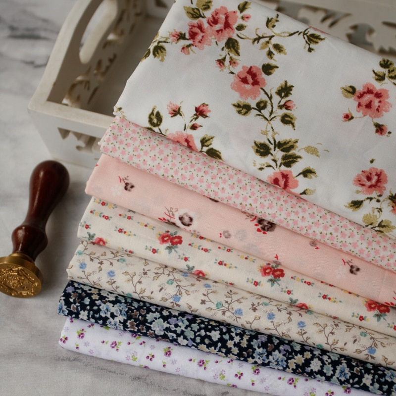 Tela de algodón con mango de flores para jardín de 110x50cm, tela para vestido de bebé, tela para camisa de 110g/M alibaba express