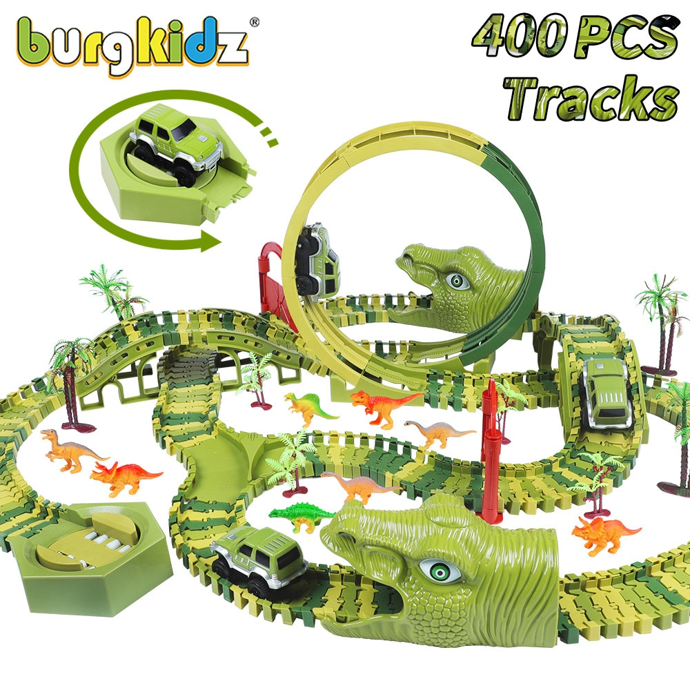 BURGKIDZ 400 PCS Dinosaur Railway Set Toy Car Track Building Blocks Flexible Race Car Magic Track Car Toys For Boys 4 Years Gift