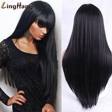 LingHang-Peluca de pelo largo y liso para mujer, cabellera sintética con flequillo, color rubio, negro y marrón, resistente al calor