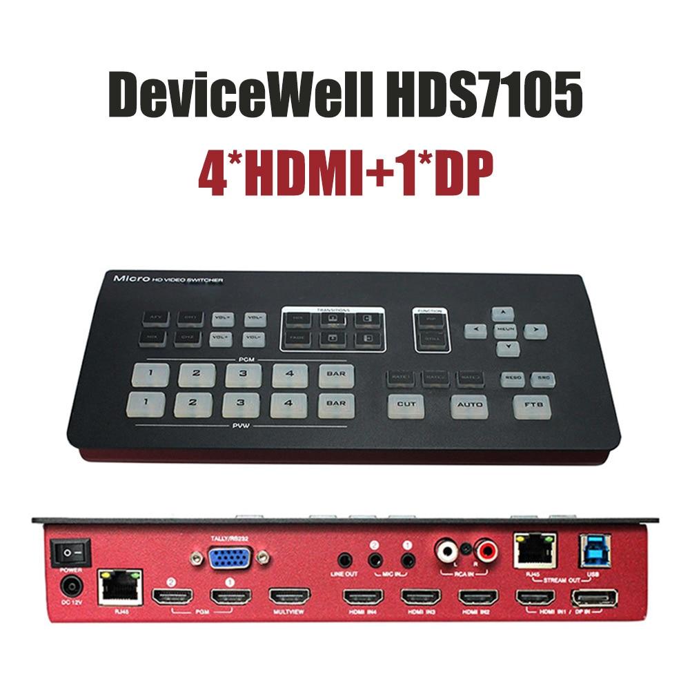 DeviceWell HDS7105 Mini-switch 4 ، متوافق مع HDMI ، 1 DP ، محول فيديو للوسائط المتعددة الحية ، Youtube ، البث التلفزيوني ، جديد لعام 2021
